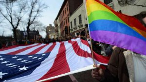 American and Pride Flags on Parade